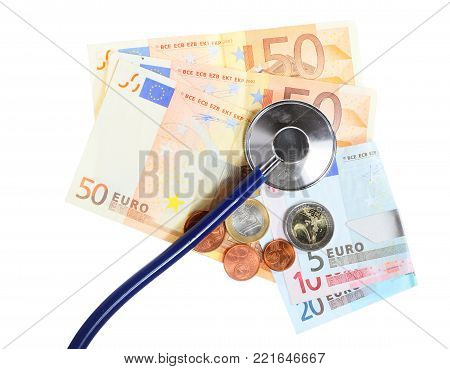 medical treatment and high cost for a good health care service concept: blue stethoscope on money euro paper banknotes isolated