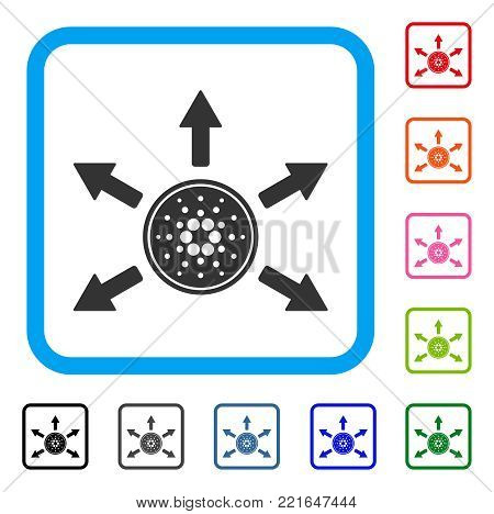 Cardano Coin Distribution Arrows icon. Flat grey iconic symbol in a blue rounded frame. Black, grey, green, blue, red, pink color variants of cardano coin distribution arrows vector.