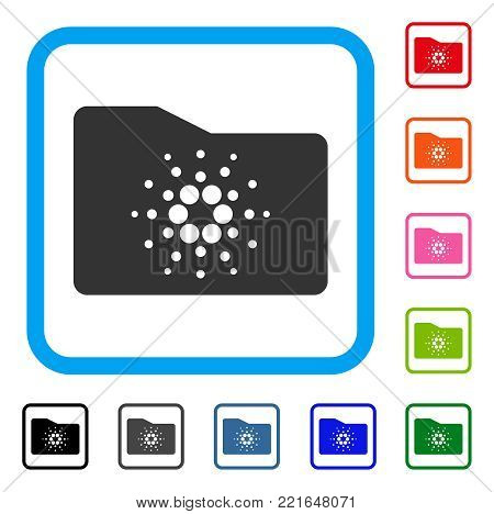 Cardano Folder icon. Flat grey pictogram symbol inside a blue rounded frame. Black, gray, green, blue, red, orange color versions of cardano folder vector.