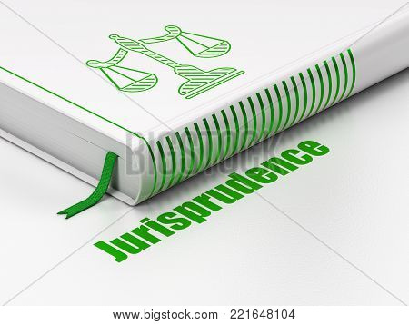 Law concept: closed book with Green Scales icon and text Jurisprudence on floor, white background, 3D rendering