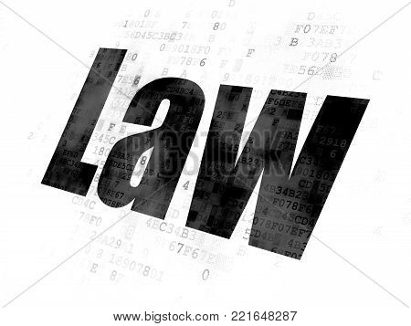 Law concept: Pixelated black text Law on Digital background