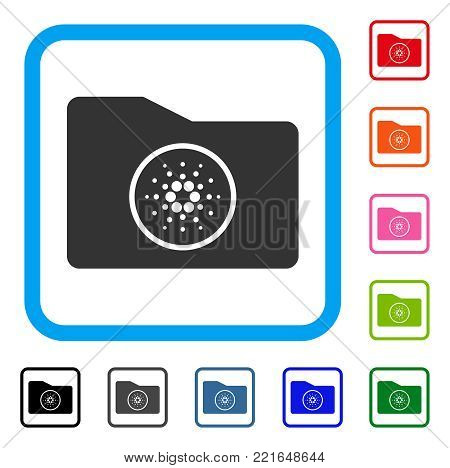 Cardano Wallet icon. Flat grey iconic symbol in a blue rounded rectangular frame. Black, gray, green, blue, red, orange color additional versions of cardano wallet vector.