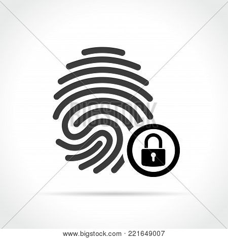 Illustration of finger print with padlock icon