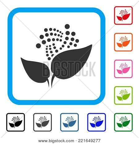 Iota Eco Startup icon. Flat gray pictogram symbol inside a blue rounded frame. Black, grey, green, blue, red, pink color variants of iota eco startup vector.