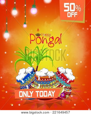 Happy pongal greeting card on image photo bigstock happy pongal greeting card on beautiful bright background poster postcard m4hsunfo