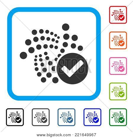 Valid Iota icon. Flat gray pictogram symbol in a blue rounded square. Black, grey, green, blue, red, orange color versions of valid iota vector. Designed for web and application UI.