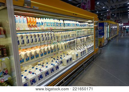 KOH SAMUI, THAILAND - December 15, 2017: Macro Food Service. Diffrent type of milk. Samui thailand