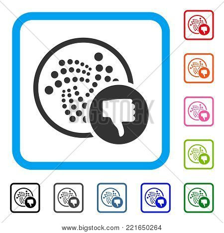 Iota Thumb Down icon. Flat grey pictogram symbol in a blue rounded frame. Black, gray, green, blue, red, orange color variants of iota thumb down vector. Designed for web and software interfaces.