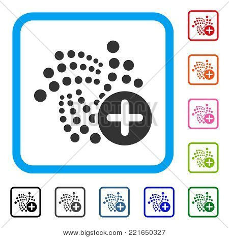 Append Iota icon. Flat gray pictogram symbol inside a blue rounded square. Black, grey, green, blue, red, orange color additional versions of append iota vector.