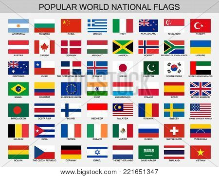 world national flags set, countries official flags collection