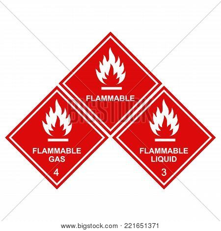 flammable sign icons red square, flammable gas, flammable liquid labels