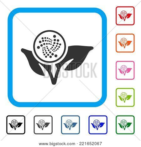 Iota Startup Sprout icon. Flat grey pictogram symbol in a blue rounded rectangular frame. Black, grey, green, blue, red, pink color variants of iota startup sprout vector.