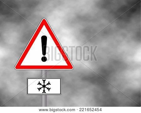 Winter warning sign shows danger of ice and snow at street, highway or road. Snow warning sign (Risk of Ice warning sign) isolated on a grey sky. Vector illustration. Reflective metallic 'Risk of Ice' warning.