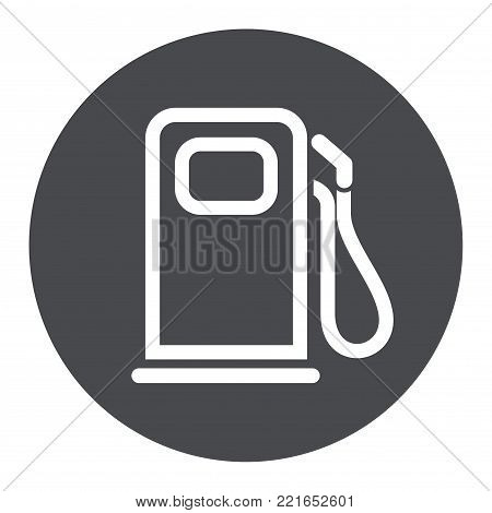 Illustration of fuel pump circle grey icon