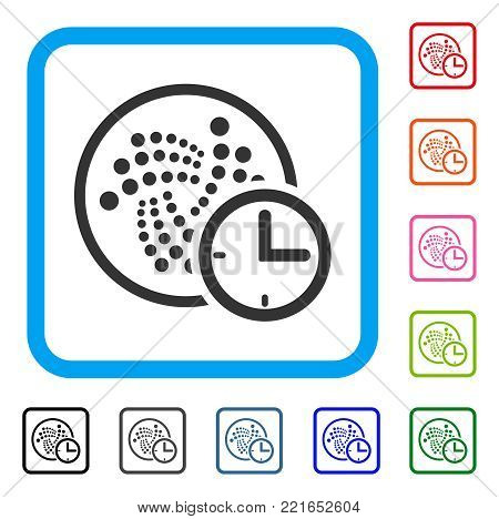Iota Credit Clock icon. Flat grey pictogram symbol in a blue rounded rectangle. Black, gray, green, blue, red, pink color additional versions of iota credit clock vector.