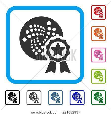 Iota Star Award icon. Flat grey pictogram symbol inside a blue rounded rectangular frame. Black, gray, green, blue, red, pink color variants of iota star award vector.