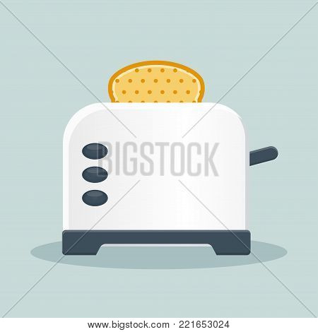 Illustration of bread toaster flat icon concept