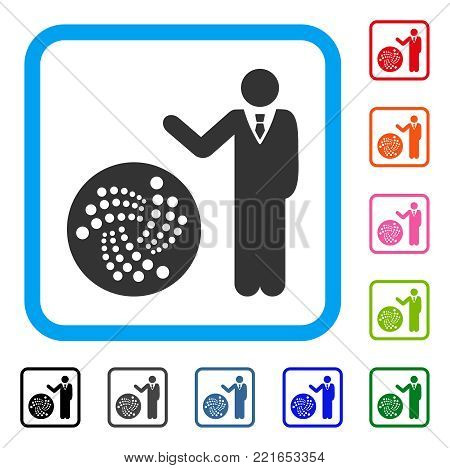 Businessman Show Iota icon. Flat gray pictogram symbol in a blue rounded rectangular frame. Black, gray, green, blue, red, pink color additional versions of businessman show iota vector.