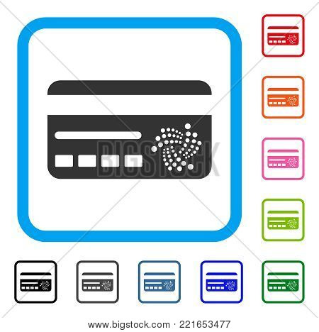 Iota Banking Card icon. Flat grey iconic symbol inside a blue rounded square. Black, gray, green, blue, red, orange color variants of iota banking card vector. Designed for web and app interfaces.