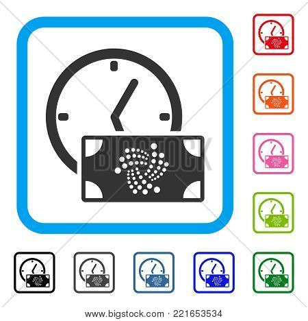 Iota Banknote Credit Time icon. Flat gray pictogram symbol inside a blue rounded rectangle. Black, gray, green, blue, red, orange color versions of iota banknote credit time vector.
