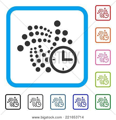 Iota Clock icon. Flat grey iconic symbol inside a blue rounded square. Black, grey, green, blue, red, pink color versions of iota clock vector. Designed for web and app interfaces.