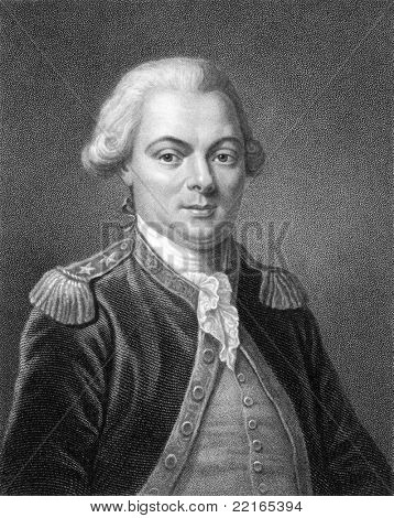 Jean-Francois de Galaup, comte de La Perouse (1741-1788). Engraved by T.Woolnoth and published in The Gallery Of Portraits With Memoirs encyclopedia, United Kingdom, 1833.