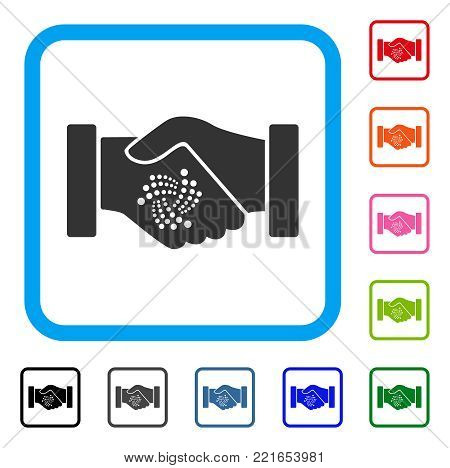 Iota Contract Handshake icon. Flat grey pictogram symbol inside a blue rounded squared frame. Black, grey, green, blue, red, orange color versions of iota contract handshake vector.