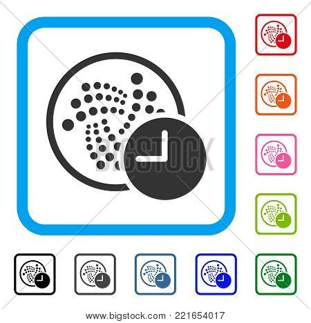 Iota Credit Clock icon. Flat gray iconic symbol in a blue rounded rectangle. Black, gray, green, blue, red, pink color versions of iota credit clock vector. Designed for web and software interfaces.