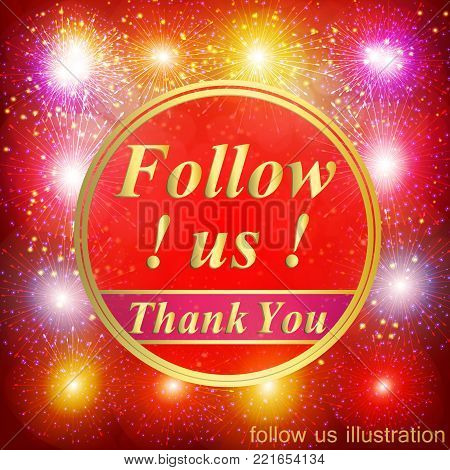 Bright followers background. Follow us illustration with thank you on a ribbon. Vector illustration.