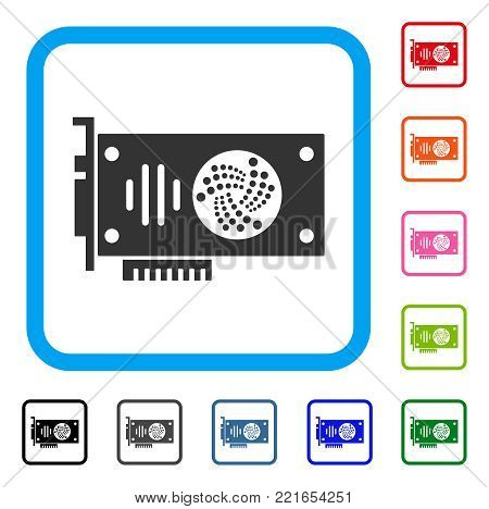 Iota Gpu Card icon. Flat grey iconic symbol inside a blue rounded square. Black, gray, green, blue, red, orange color versions of iota gpu card vector. Designed for web and application UI.