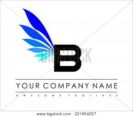 B Letter Blue Wings Logo Design Icon. Flying Wing Letter Logo with Creative Black Wing Concept.