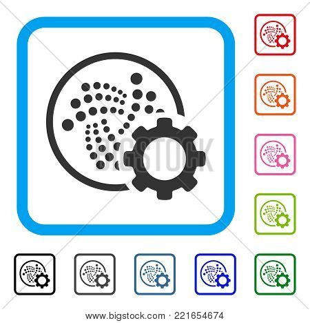 Iota Setup Gear icon. Flat grey iconic symbol inside a blue rounded rectangle. Black, gray, green, blue, red, orange color variants of iota setup gear vector. Designed for web and app interfaces.