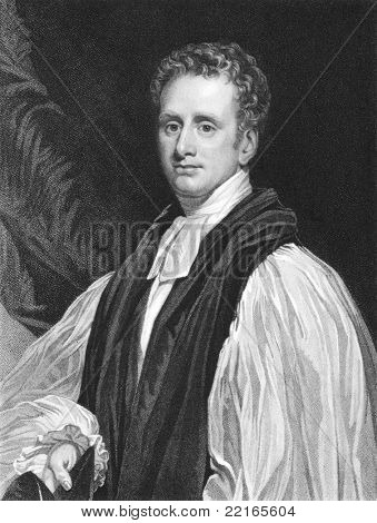 Reginald Heber (1783-1826). Engraved by T.Woolnoth and published in The National Portrait Gallery Of Illustrious And Eminent Personages encyclopedia, United Kingdom, 1830.