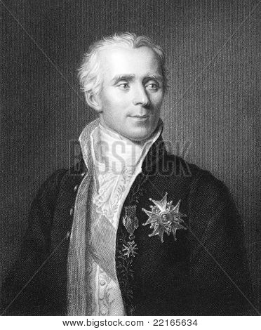 Pierre Simon Laplace (1749-1827). Engraved by J.Pofselwhite and published in The Gallery Of Portraits With Memoirs encyclopedia, United Kingdom, 1833.