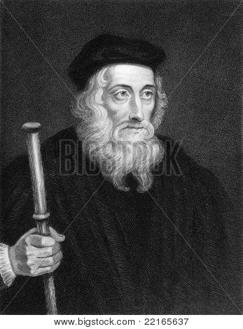 John Wiclif (1320s-1384). Engraved by J.Pofselwhite and published in The Gallery Of Portraits With Memoirs encyclopedia, United Kingdom, 1833.