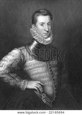 Philip Sidney (1554-1586). Engraved by H.Robinson and publised in Lodge's British Portraits encyclopedia, United Kingdom, 1823.