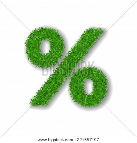 Grass symbol percent. Green percent, isolated on white background. Green grass 3D percent, symbol of fresh nature, lawn, summer. Grass texture spring font. Beautiful eco design Vector illustration