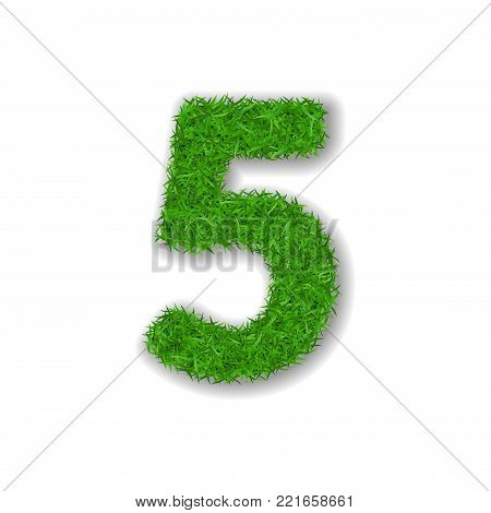 Grass number five. Green 3D number five, isolated on white background. Green grass 5, symbol of fresh nature, plant lawn, summer. Grass texture spring font. Beautiful eco design Vector illustration