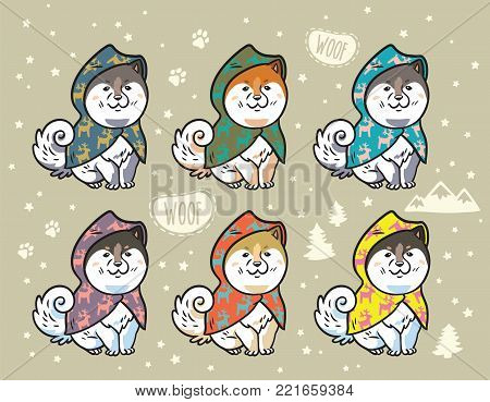Collection of cute siberian husky puppies in colorful raincoats. Different breeds of dogs. Akita inu, shiba inu, malamute