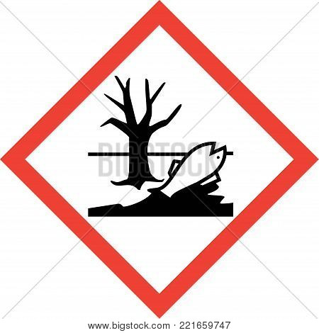 Hazard sign with harmful chemicals symbol on white background