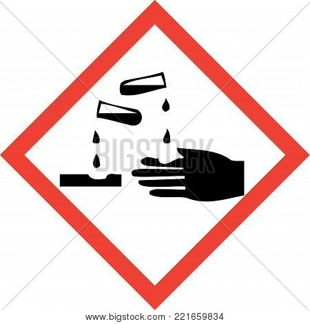 Hazard sign with corrosive substances symbol on white background