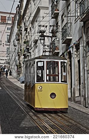 LISBON, PORTUGAL - February 2, 2017: Gloria Funicular (Ascensor da Gloria)  in Lisbon on February 2, 2017. Lisbon's Gloria funicular, classified as a national monument, opened in 1885 connects downtown with Bairro Alto