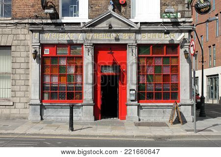 DUBLIN, IRELAND - SEPTEMBER 5, 2016: The O'Reilly Bros Bar on September 5, 2016 in Dublin. The O'Reilly Bros Bar is a famous landmark in Dublins cultural quarter visited by thousands of tourists every year