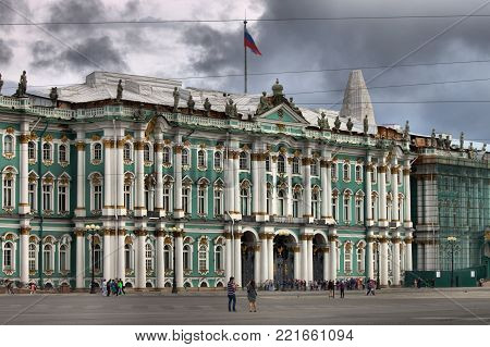 SAINT PETERSBURG - AUGUST 7: Facade of the Winter Palace on August 7, 2017 in Saint Petersburg, Russia