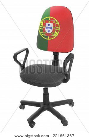 The Portuguese flag - on the back of a chair. Isolated on white background.