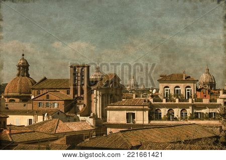 Vintage urban scenic of Rome with domes and churches