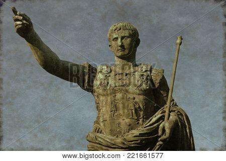 Vintage image of the Roman emperor Augustus, symbol of power