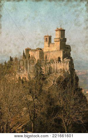 Vintage Image Of The Rocca Della Guaita, The Most Ancient Fortress Of San Marino Republic