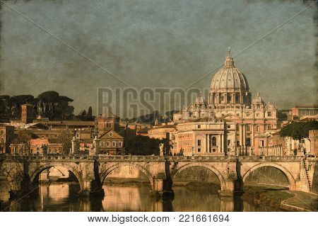 Vintage Image Of Saint Peter Basilica From The River Tevere. Rome, Italy