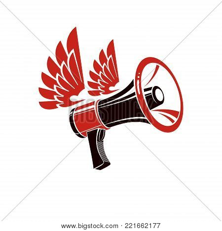 Loudspeaker vector illustration isolated on white. Misleading and brainwashing information, fake news concept